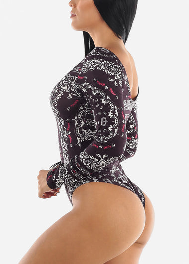 Long Sleeve Black Printed Bodysuit
