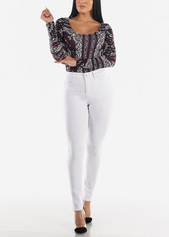 Image of Long Sleeve Black Printed Bodysuit