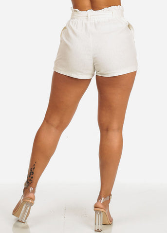 High Waisted White Linen Shorts