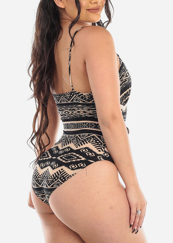 Aztec Print Two Tone Bodysuit