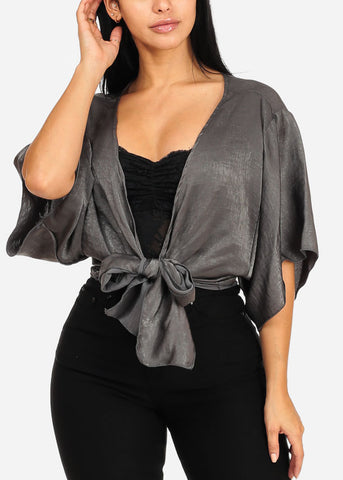 Shinny Dark Grey Crop Top
