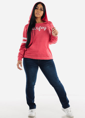 "Image of Red Graphic Hoodie ""Wifey"""