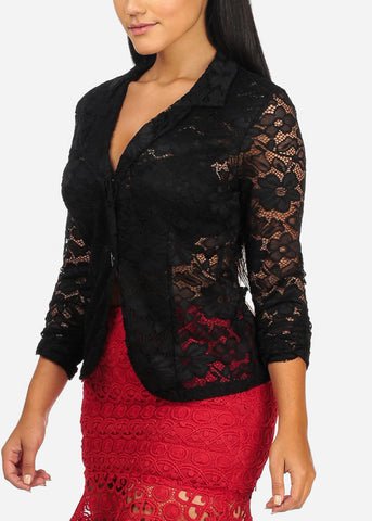 Image of Black Floral Lace Blazer