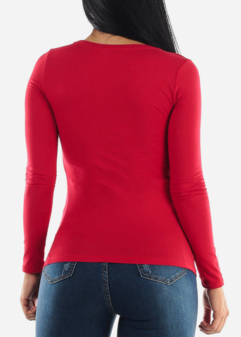 "Long Sleeve Red Graphic Top ""Wifey"""