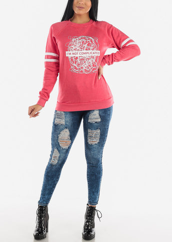 Image of Printed Long Sleeve Stretchy Casual Top