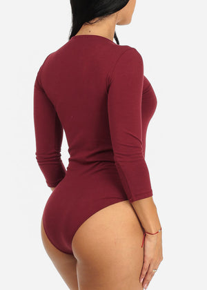 Sexy Burgundy Plunge Lace Up Neckline 3/4 Sleeve Bodysuit