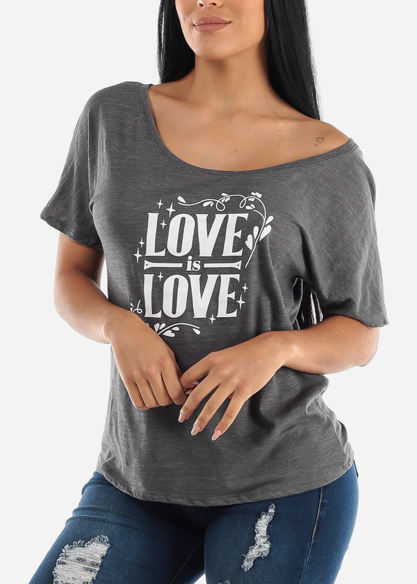"Grey Graphic T-Shirt ""Love Is Love"""