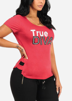 True Diva Graphic Red Top