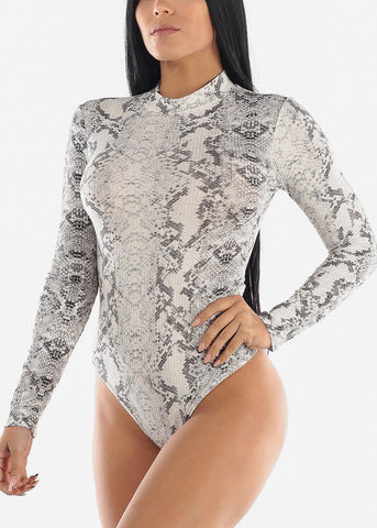 High Neck White Snake Print Bodysuit