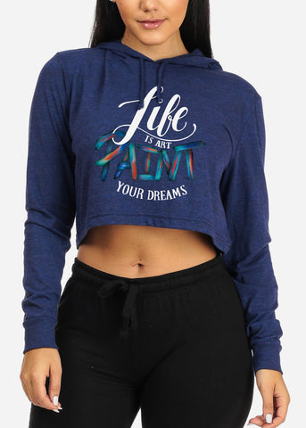 Life Is Art Graphic Cropped Sweatshirt