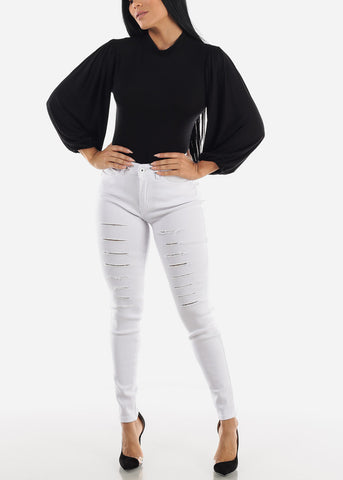 Image of Long Sleeve Black Bodysuit