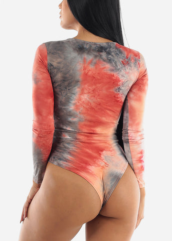 Long Sleeve Red Tie Dye Bodysuit