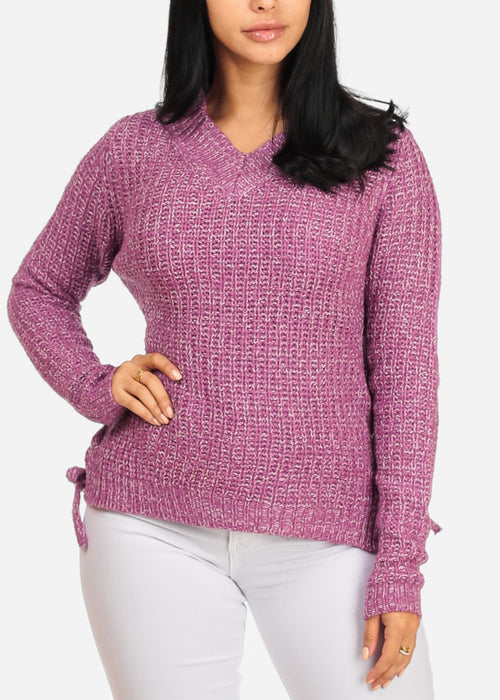 Pink Knitted Long Sleeve V Neckline Lace Up Sides Sweater Top