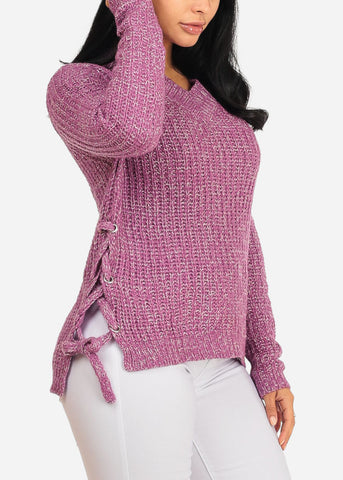Image of Pink Knitted Long Sleeve V Neckline Lace Up Sides Sweater Top
