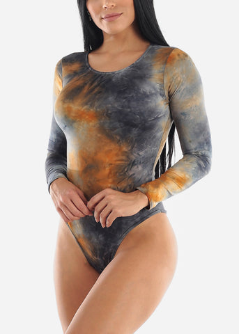 Image of Round Neck Orange Tie Dye Bodysuit