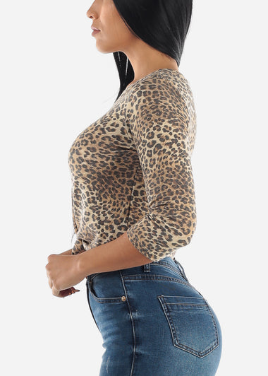 Knot Tie Front Animal Crop Top