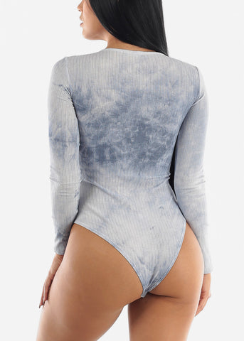 Long Sleeve Blue Tie Dye Bodysuit