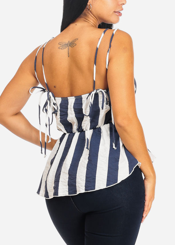 Casual White And Navy Stripe Blouse
