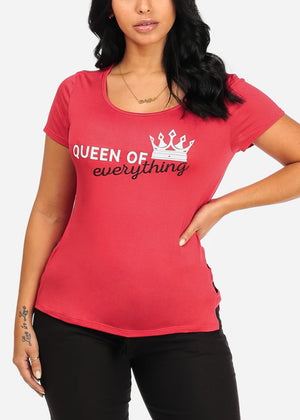 Queen Of Everything Graphic Red Top