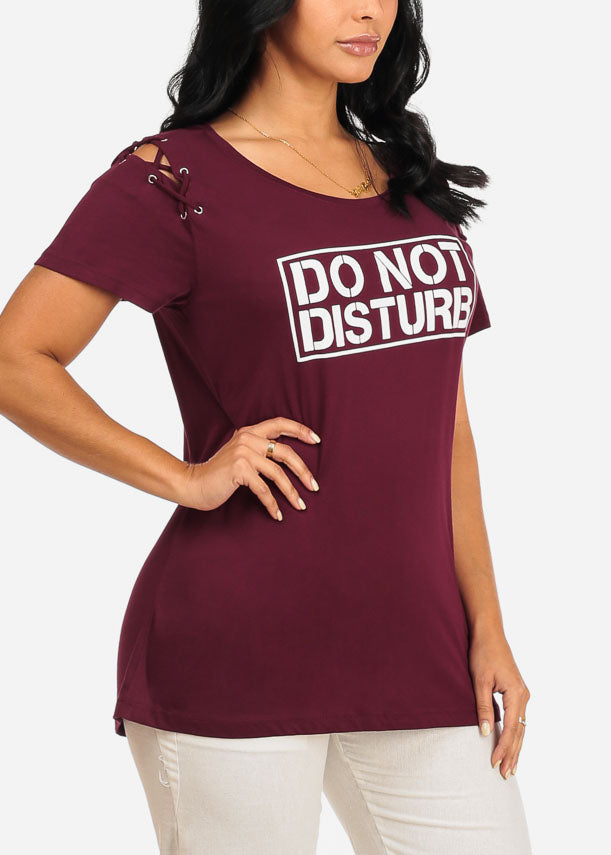 Do Not Disturb graphic Burgundy Top