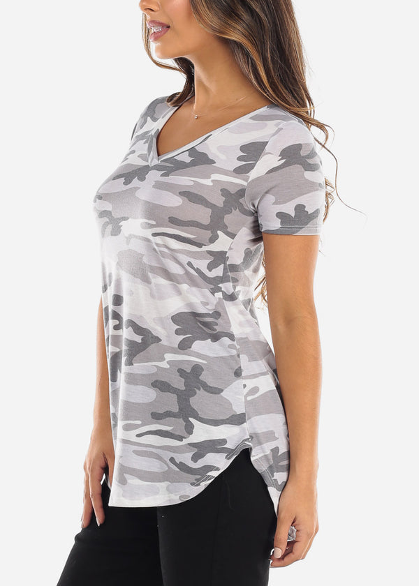 Grey Short Sleeve Camo V-Neck Shirt