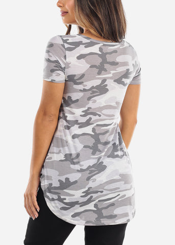 Grey Camo V-Neck Shirt