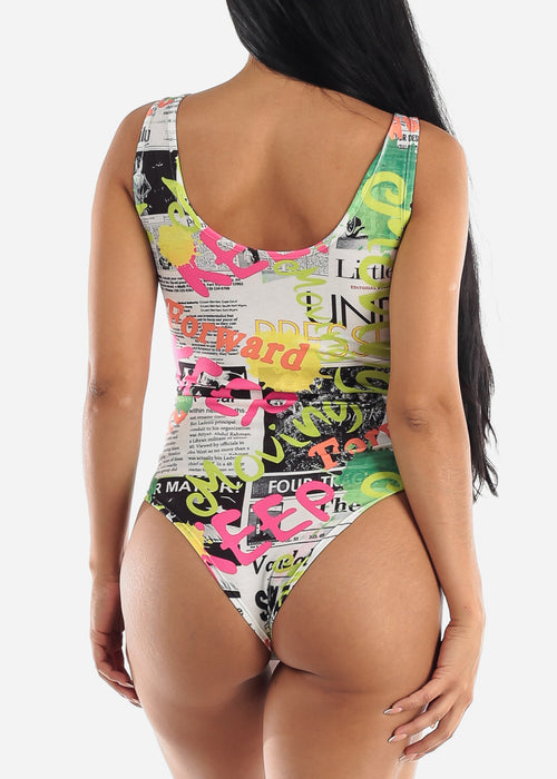 Newspaper Print Sleeveless Bodysuit