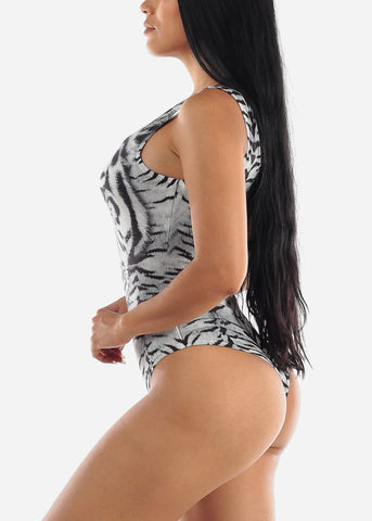 Image of Animal Print Sleeveless Bodysuit