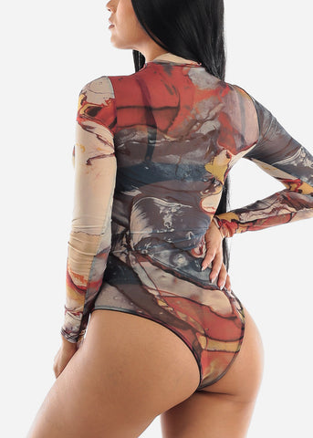 Multicolor Printed Mesh Bodysuit