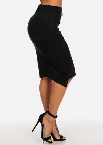High Rise Black Velvet Skirt