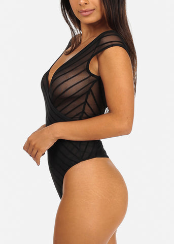 Sexy Sheer Stripe Black Bodysuit