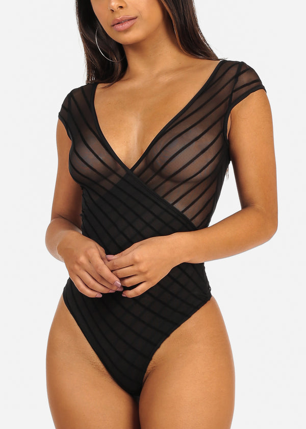 Sexy Clubwear Sheer Stripe Black Bodysuit