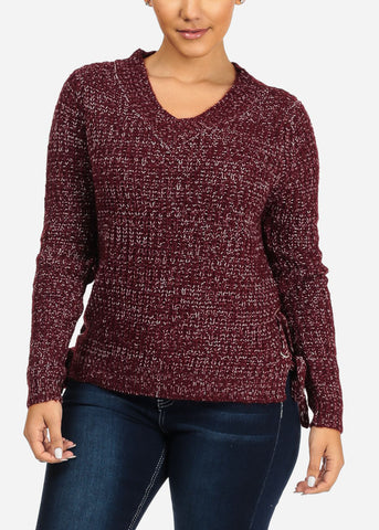 Image of Burgundy Long Sleeve Knitted Lace Up Sweater