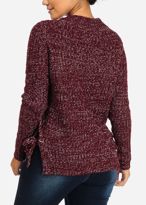 Burgundy Knitted Lace Up Sweater