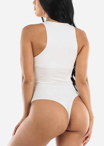 Casual White Sleeveless Bodysuit
