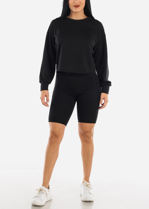 Black Fleece Sweatshirt & Shorts (2 PCE SET)