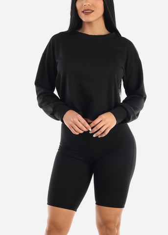 Image of Black Fleece Sweatshirt & Shorts (2 PCE SET)
