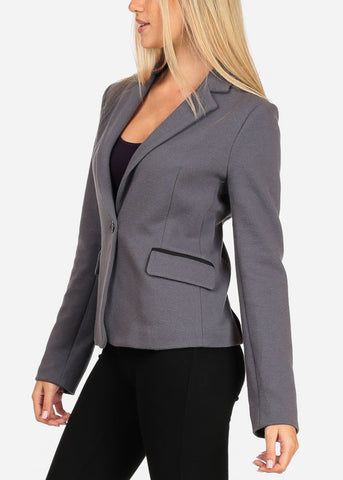 Image of Women's Junior Long Sleeve Professional Office Career Wear One Button Solid Grey Blazer