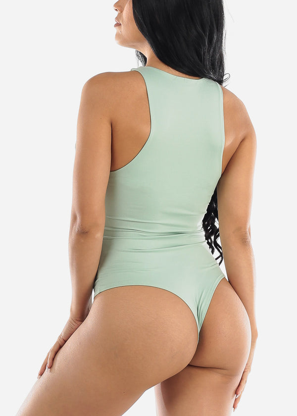 Casual Sleeveless Mint Bodysuit