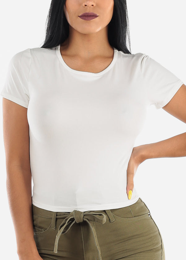Short Sleeve White Basic Top