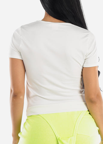 Image of Basic Short Sleeve White Top