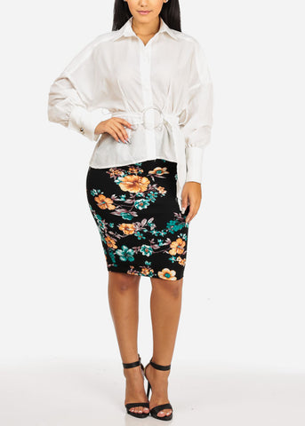 Image of High Rise Floral Print Black Green Skirt