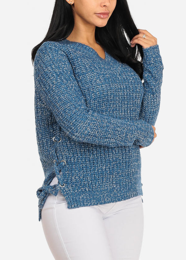 Blue Long Sleeve Lace Up Sides Sweater
