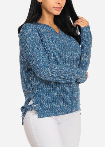 Blue Knitted Long Sleeve V Neckline Lace Up Sides Sweater Top