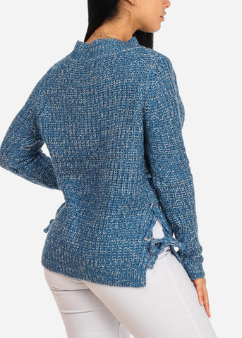 Image of Blue Knitted Long Sleeve V Neckline Lace Up Sides Sweater Top