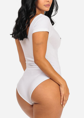 Available Weekends Graphic White Bodysuit