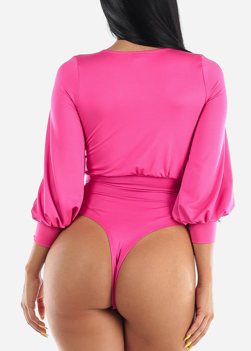 Hot Pink Wrap Front Bodysuit