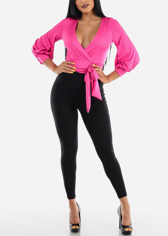 Image of Hot Pink Wrap Front Bodysuit