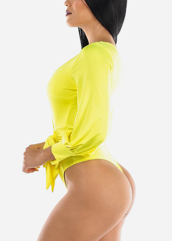 Image of Yellow Wrap Front Bodysuit