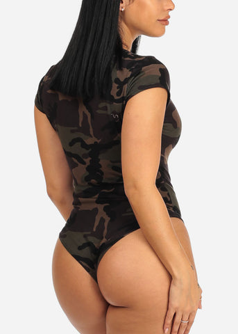 Laced Up Camouflage Bodysuit